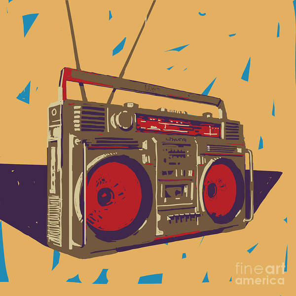 Wall Art - Digital Art - Ghetto Blaster Boombox Graphic by Iz Stock Works