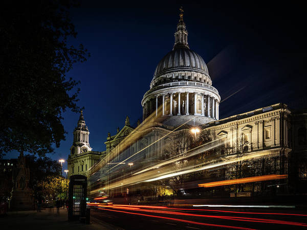 Photograph - Ghost Bus At St Paul's #1 by Framing Places