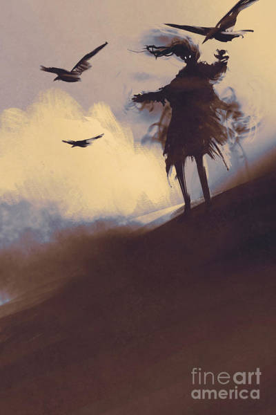Wall Art - Digital Art - Ghost With Flying Crows In The by Tithi Luadthong
