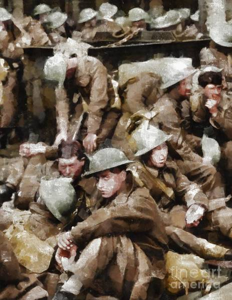 Dday Wall Art - Painting - Ghosts Of Dunkirk, Wwii by Mary Bassett