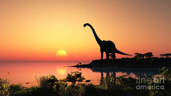 Wall Art - Digital Art - Giant Dinosaur In The Background Of The by Iurii