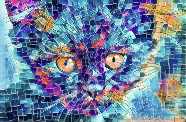 Digital Art - Giant Head Mosaic Colorful by Don Northup