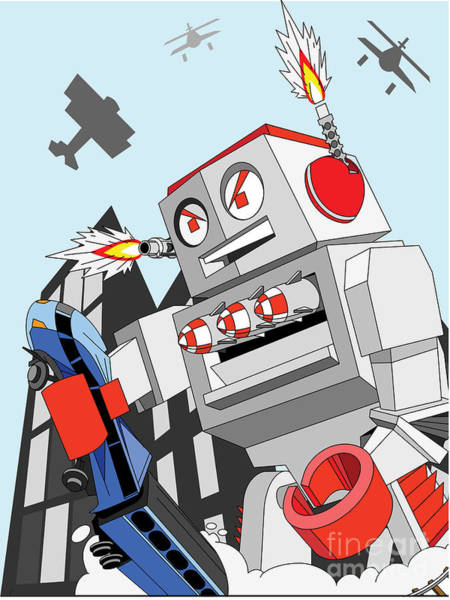 Wall Art - Digital Art - Giant Toy Robot Destroys City by Willdidthis