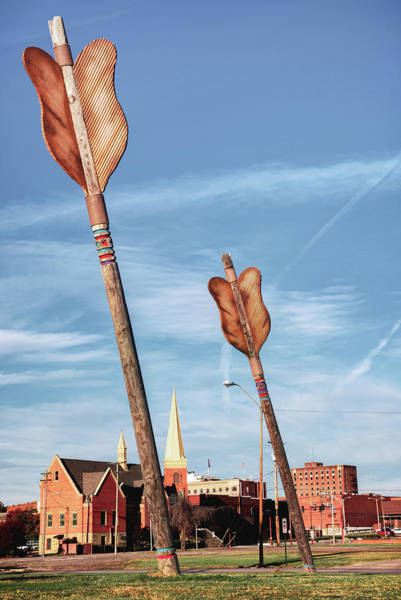 Roadside Attraction Wall Art - Photograph - Giant Wooden Arrows Of Fort Smith Arkansas by Gregory Ballos