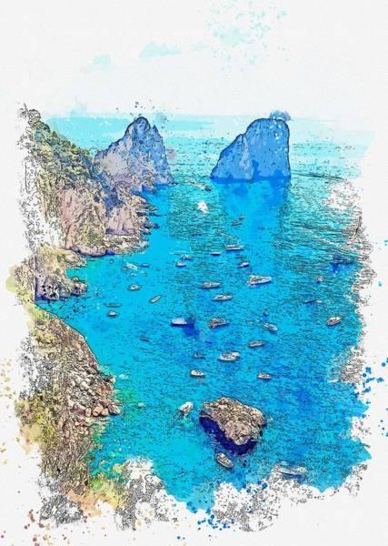 Painting - Giardini Di Augusto Overlooking The Bay Surrounding Scoglio Unghia Marina In Capri, Italy Watercolor by Ahmet Asar
