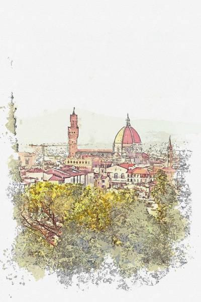 Painting - Giardino Bardini, Firenze, Italy Watercolor By Ahmet Asar by Ahmet Asar