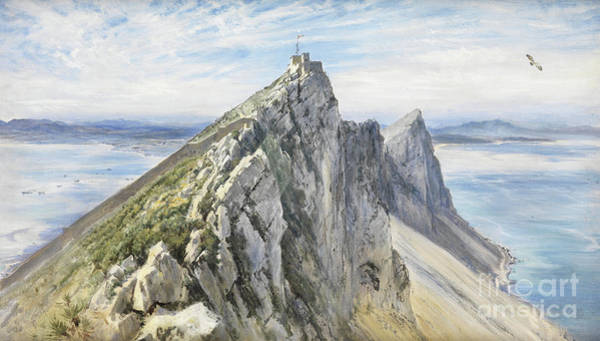 Wall Art - Painting - Gibraltar, From The Spanish Shore  by Keeley Halswelle