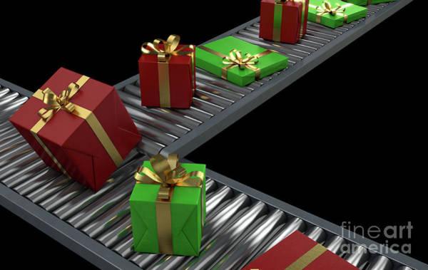 Wall Art - Digital Art - Gift Boxes On Conveyor by Allan Swart