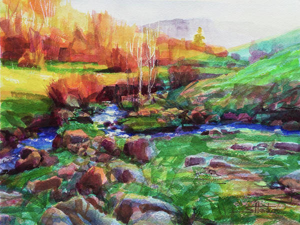 Stroke Painting - Gilded Hillside by Steve Henderson