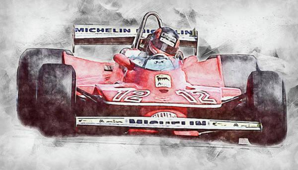 Painting - Gilles Villeneuve, Ferrari - 01 by Andrea Mazzocchetti