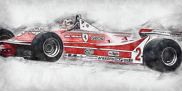 Painting - Gilles Villeneuve, Ferrari - 02 by Andrea Mazzocchetti