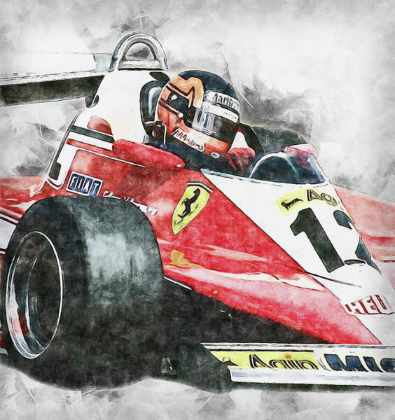 Painting - Gilles Villeneuve, Ferrari - 03 by Andrea Mazzocchetti