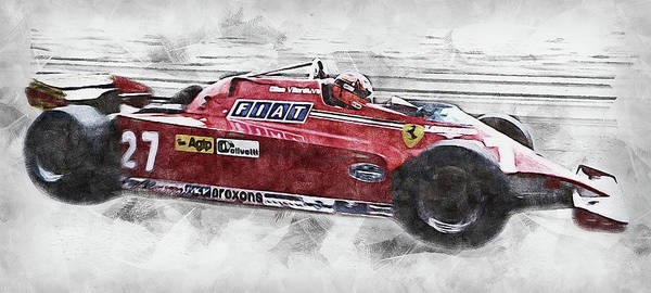 Painting - Gilles Villeneuve, Ferrari - 04 by Andrea Mazzocchetti