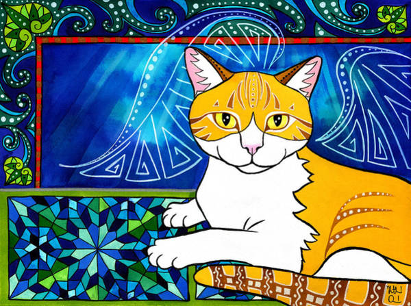 Painting - Ginger Angel Cat Painting by Dora Hathazi Mendes