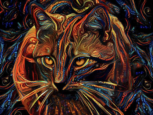 Digital Art - Ginger Cat Crouching by Peggy Collins