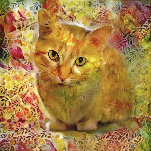 Wall Art - Digital Art - Ginger Cat - Gold Floral by Peggy Collins