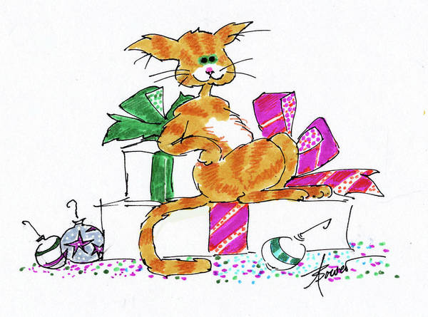 Painting - Ginger Cat's Christmas by Adele Bower