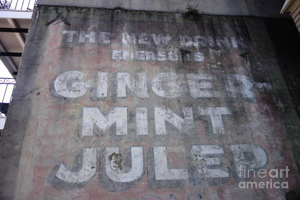 Photograph - Ginger Mint Julep Sign  -  New Orleans Louisiana by Susan Carella