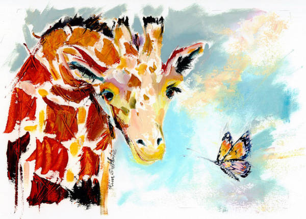 Wall Art - Painting - Giraffe And Butterfly Oil Painting by Kim Guthrie