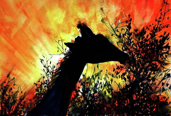 Wall Art - Painting - Giraffe At Night by Kovacs Anna Brigitta