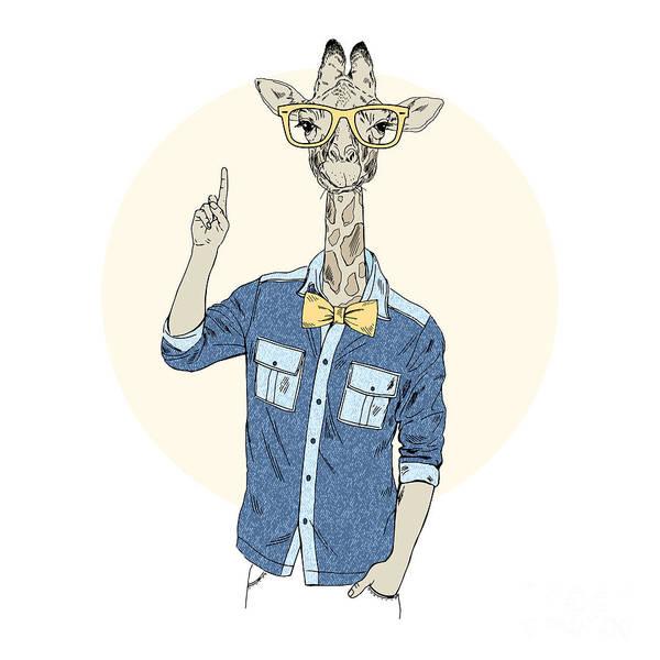 Idea Wall Art - Digital Art - Giraffe Hipster Point Out Up. Furry Art by Olga angelloz