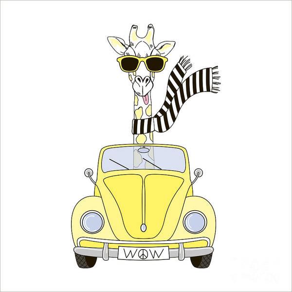 Funny Car Wall Art - Digital Art - Giraffe In Sunglasses And Striped Scarf by Olga angelloz