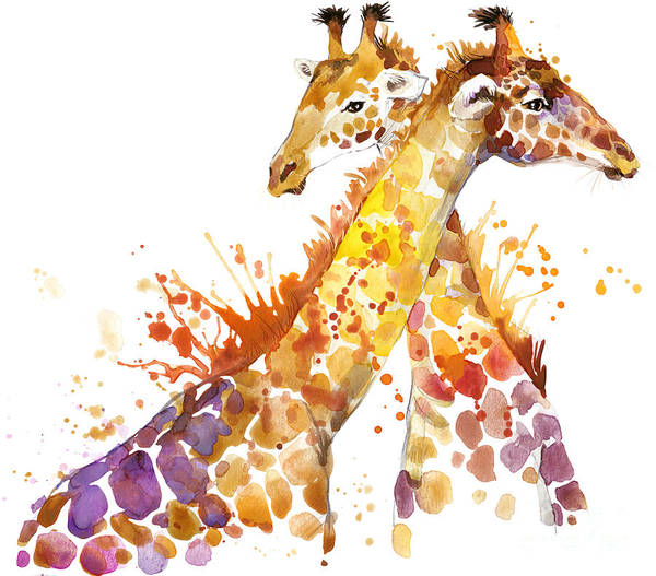 Wall Art - Digital Art - Giraffe Watercolor Illustration With by Faenkova Elena