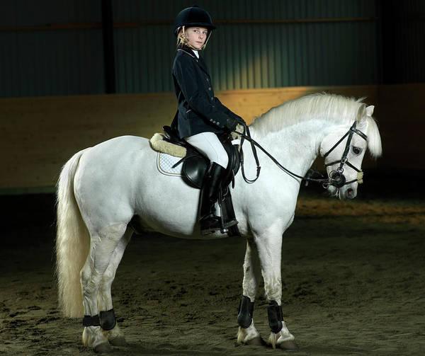 Confidence Photograph - Girl 12-13 Sitting On White Pony by Jonatan Fernstrom