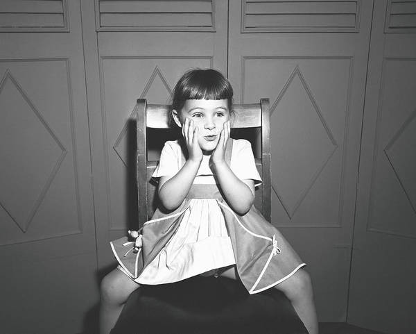 Bangs Photograph - Girl 5-5 Sitting Astride Chair, Making by George Marks