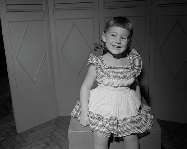 Bangs Photograph - Girl 6-7 Sitting On Box, Smiling by George Marks