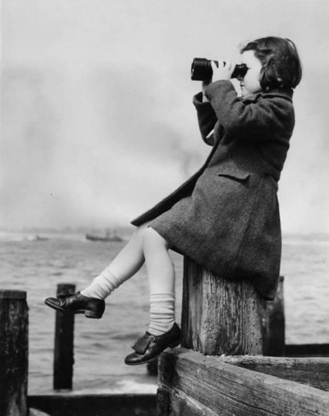 Binoculars Photograph - Girl And Binoculars by E. Phillips/a. R. Tanner