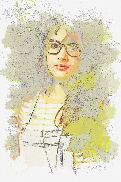 Painting - Girl And Greens -  Watercolor By Ahmet Asar by Ahmet Asar