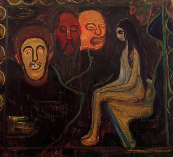 Wall Art - Painting - Girl And Three Male Heads, 1898 by Edvard Munch