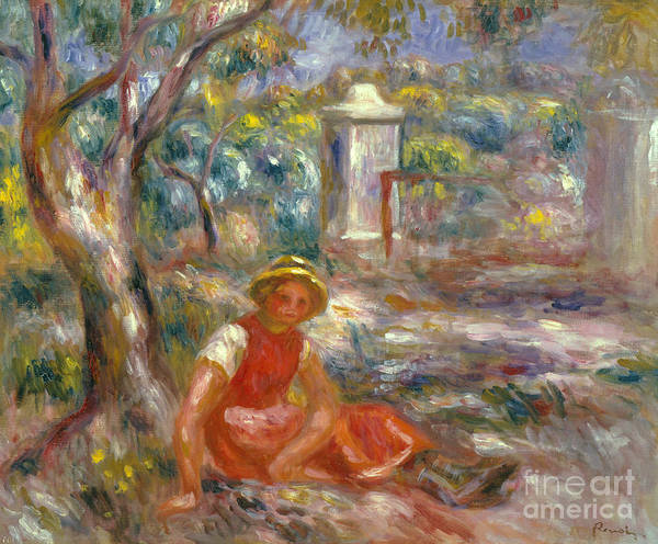 Wall Art - Painting - Girl At Gate, Circa 1914 by Pierre Auguste Renoir
