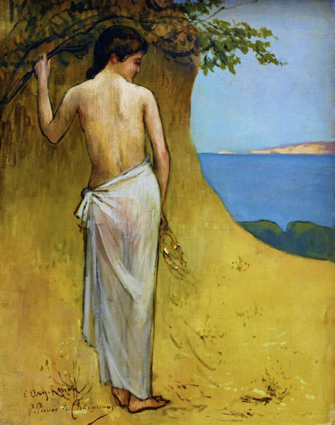 Wall Art - Painting - Girl At The Beach - Digital Remastered Edition by Pierre Puvis de Chavannes