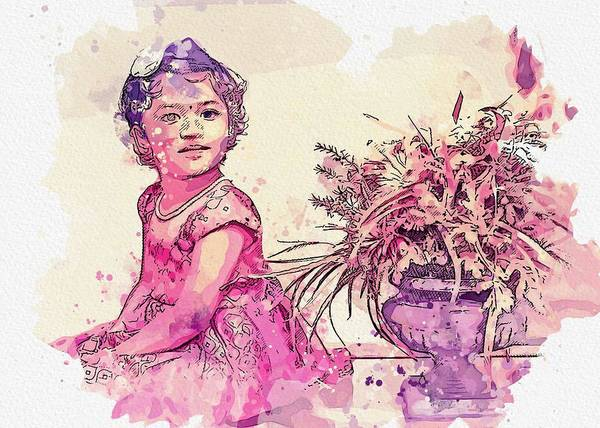 Painting - Girl Beside Flower Vase Inside White Painted Room Watercolor By Ahmet Asar by Ahmet Asar
