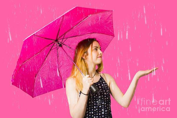 Sensation Photograph - Girl Feeling The Rain When Living In The Moment by Jorgo Photography - Wall Art Gallery