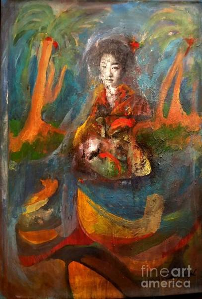 Japanese Poetry Painting - Girl From Haiku Pond by Andrew Walaszek