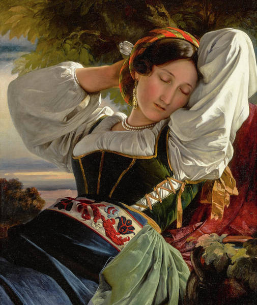Wall Art - Painting - Girl From The Sabine Mountains by Franz Xaver Winterhalter