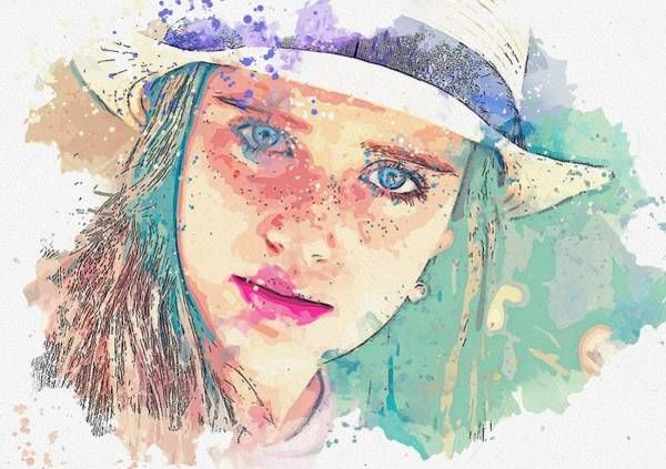 Painting - Girl Hat Young Woman Freckles Pretty Watercolor By Ahmet Asar by Ahmet Asar