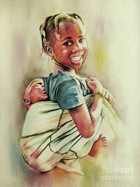 African Dance Painting - Girl Holding Child On Back  by Gull G
