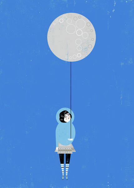 Front Digital Art - Girl Holding Full Moon Balloon by Luciano Lozano