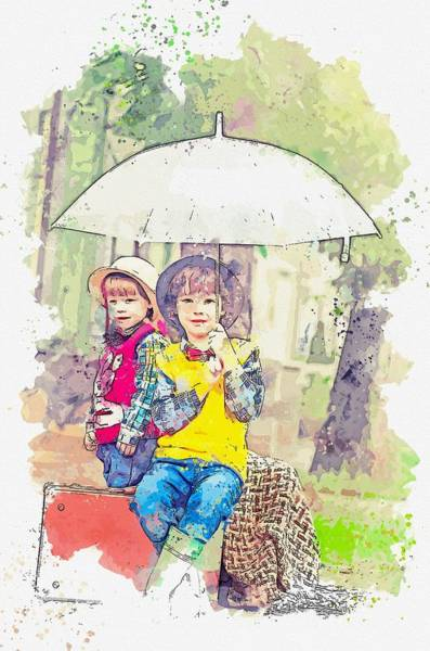 Painting - Girl Holding Umbrella While Sitting On Brown Suitcase Watercolor By Ahmet Asar by Ahmet Asar