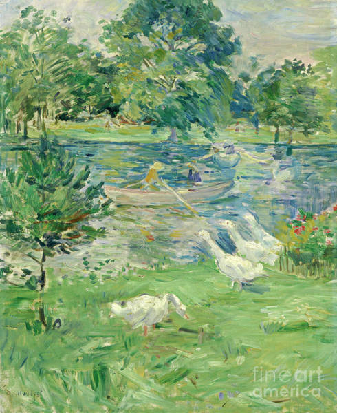 Wall Art - Painting - Girl In A Boat With Geese, 1889  by Berthe Morisot