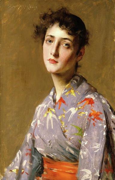 Wall Art - Painting - Girl In A Japanese Costume - Digital Remastered Edition by William Merritt Chase