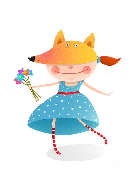 Wall Art - Digital Art - Girl In A Mask Fox With Bouquet Of by Popmarleo