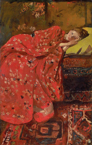 Kimono Painting - Girl In A Red Kimono - Top Quality Image Edition by George Hendrik Breitner