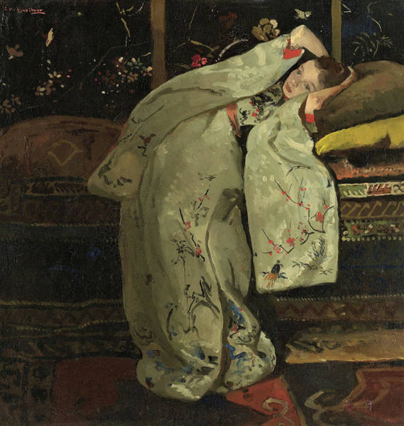 Kimono Painting - Girl In A White Kimono #2 - Top Quality Image Edition by George Hendrik Breitner