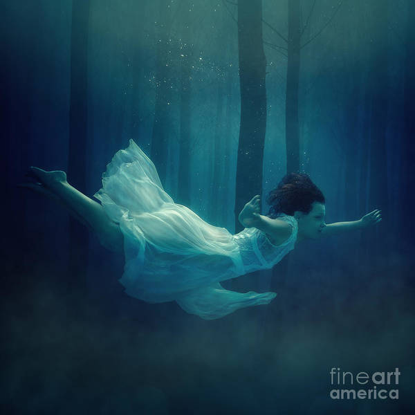 Cast Photograph - Girl In Dress Flying In The Fog by Dmitry Laudin