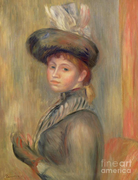 Wall Art - Painting - Girl In Grey Blue, Putting On Her Glove, Circa 1889 by Pierre Auguste Renoir